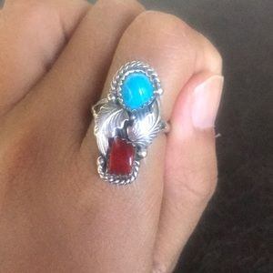 Jewelry - Vintage sterling silver turquoise coral ring
